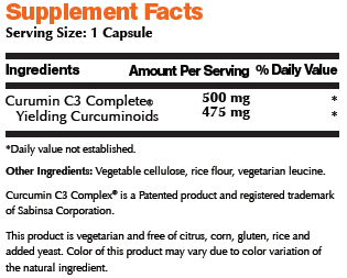 Turmeric 500 Supplement Facts Image