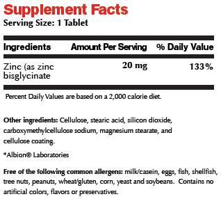 7 Zinc Chelate Supplement Facts Image