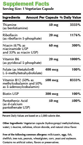 B Complex Active Supplement Facts Image