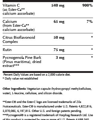 Ester C Bio Supplement Facts Image