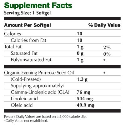 Evening Primrose Oil Supplement Facts Image