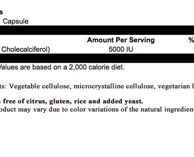 Vitamin D 5000 IU Supplement Facts Image