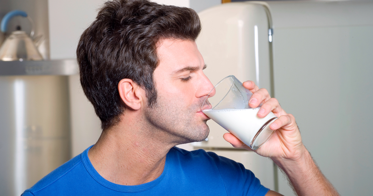 Man Drinking Milk Image