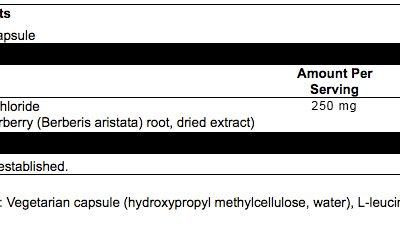Berberine 250mg 120 caps Supplement Facts
