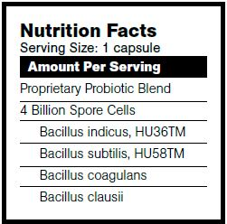 BioBalance BioSpore nutrition facts