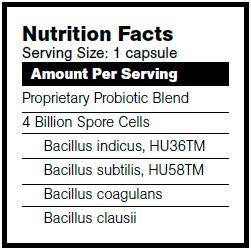 BioBalance BioSpore nutrition facts