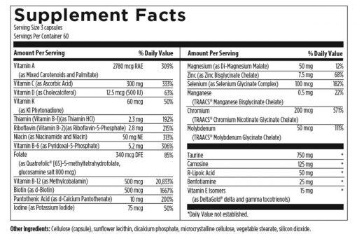 DFH Metabolic Synergy 180 capsules supplement facts