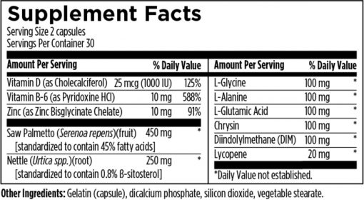 DFH Prostate Supreme 60 caps supplement facts