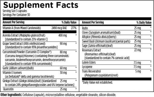 DFH Ultimate Antiox Full Spectrum 90 caps supplement facts