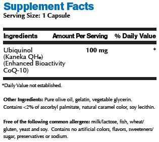 Ubiquinol 100mg 60 capsules supplement facts