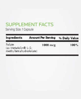 Supplement facts L-Methylfolate Vitamin B9
